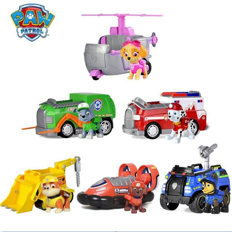 Genuine Paw Patrol Dog Puppy Patrol Car toys Set Patrulla Canina Action Figures Puppy Patrol dog Toy Kids Children Toys Gifts 48pcs lot action figures toy stikeez sucker kids silicon toys minifigures capsule children gift
