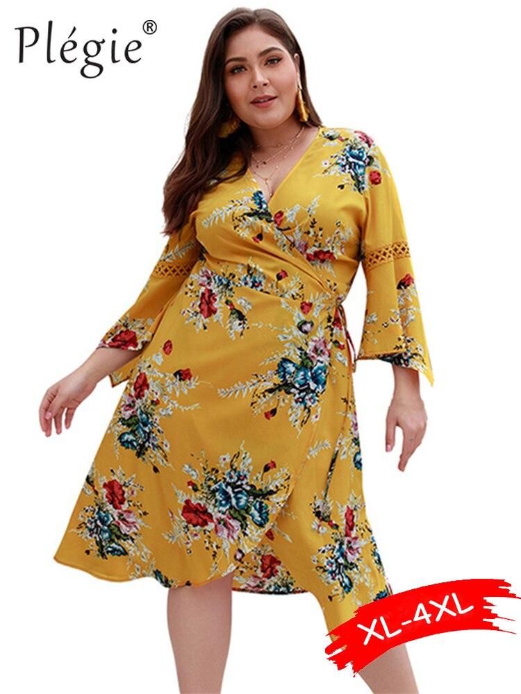 Женское платье с цветочным принтом Plegie, летнее облегающее платье миди с v-образным вырезом и XL-4XL, большие размеры