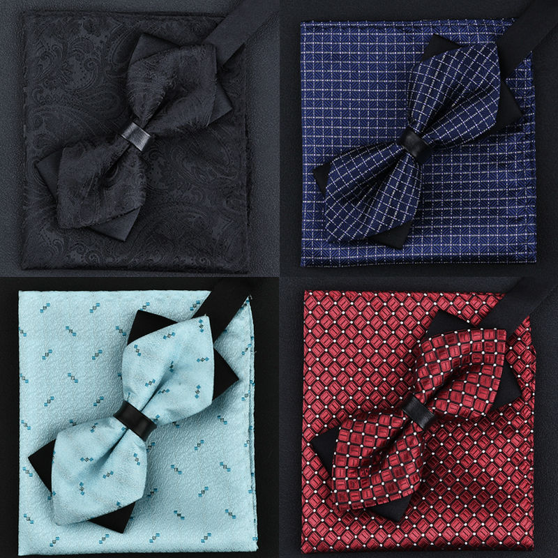 11 Colors Fashions Men's Bowtie And Pocket Squares Man Bow Tie Handkerchief Set Wedding Vintage Necktie