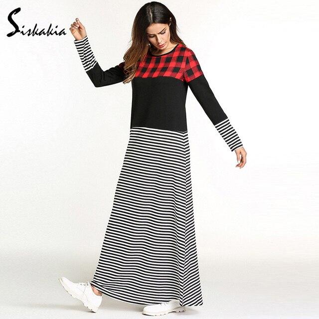 US $35 24 |Siskakia Fashion plaid stripe color block maxi long dress spring  2018 women casual long sleeve A line tunics elegant red black-in Dresses