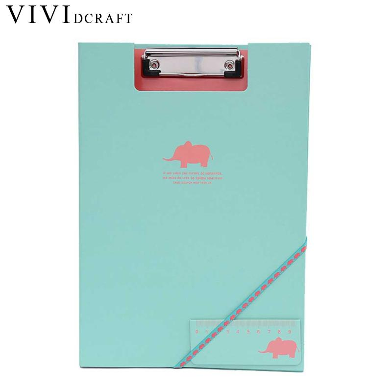 Vividcraft Cute Animal Document Clip File Korean Stattionery Office Supplies Papel A4 Clipboard Folder File Padfolio Clipboard 1pc padfolio clipboard folder office business clipboard pu leather writing pad a4 file organizer clip magnetic with pen holder