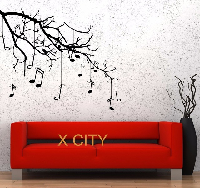 Music Tree Branch Notes Cool Creative Black Wall Art Decal Sticker  Removable Vinyl Transfer Stencil Mural Part 52