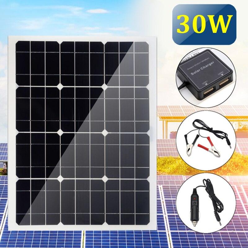 Double USB interface 30 w 12 v/5 v DC Batterie De Voiture Chargeur avec Prise Allume-cigare Quatre têtes monocristallin panneau solaire