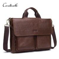CONTACT'S мужские из натуральной кожи сумка Для мужчин s Портфели Элитный бренд Для Мужчин's Бизнес сумка для ноутбука офисные Курьерские сумки ч