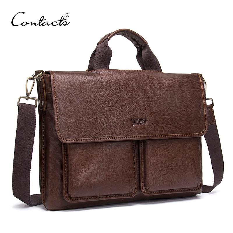 CONTACT'S Genuine Leather Man Bag Mens Briefcase Luxury Brand Men's Business Handbag For Laptop Office Messenger Bags Man Bolsos