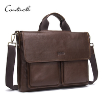 CONTACT'S Genuine Leather Man Bag Mens Briefcase Luxury Brand Men's Business Handbag For Laptop Office Messenger Bags Man Bolsos