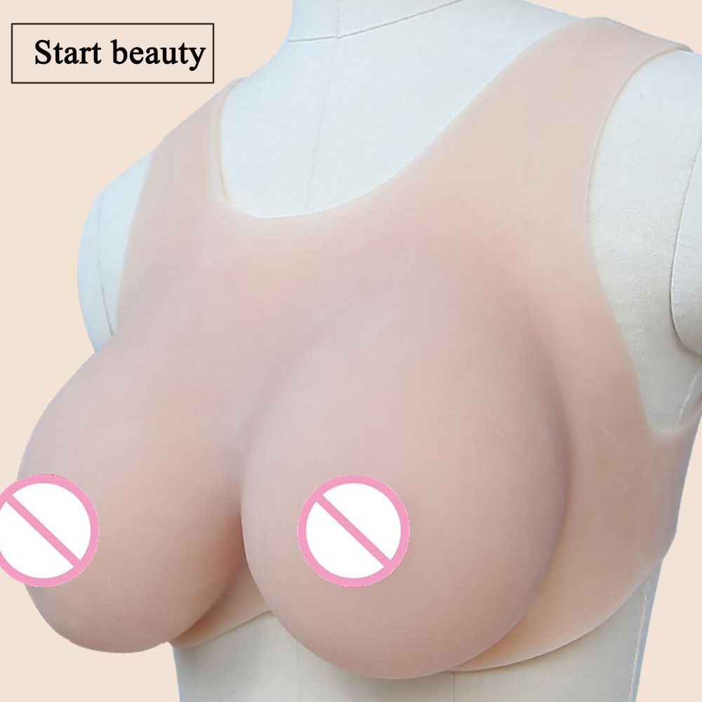 1 pair 1000g 36D Cup Comfortable Bionic Silicone Breast Form CD Siamese Fake Chest Boobs Bra gestante Cross Vest false breasts 1 pair gg cup nude skin tone 2800g silicone breast form with straps