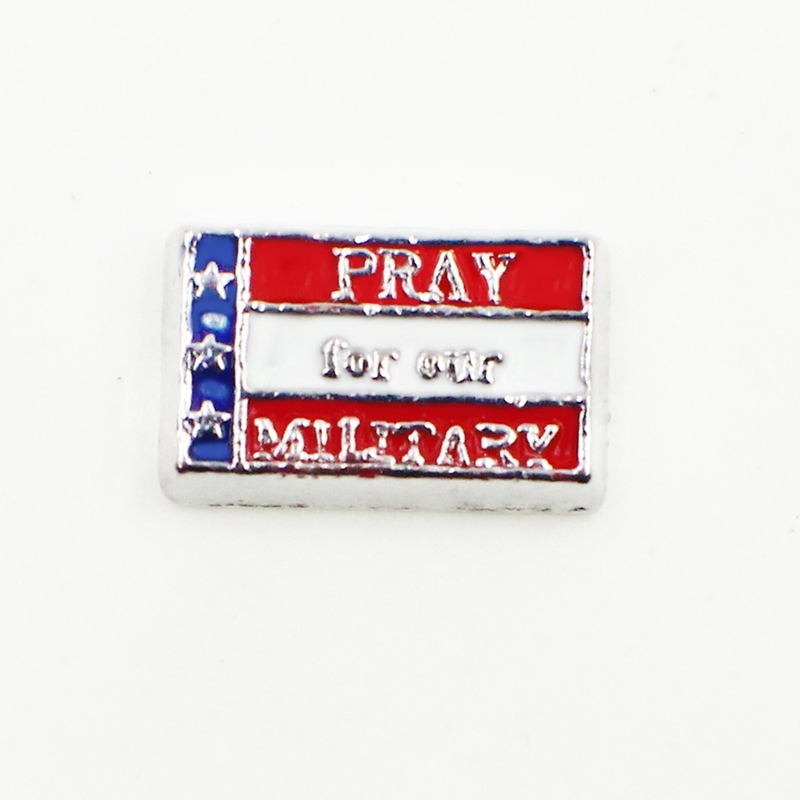 20PCS Cute Pray For Our Military Square Alloy Floating Charms Fit Glass Locket Charms DIY Jewelry Accessories