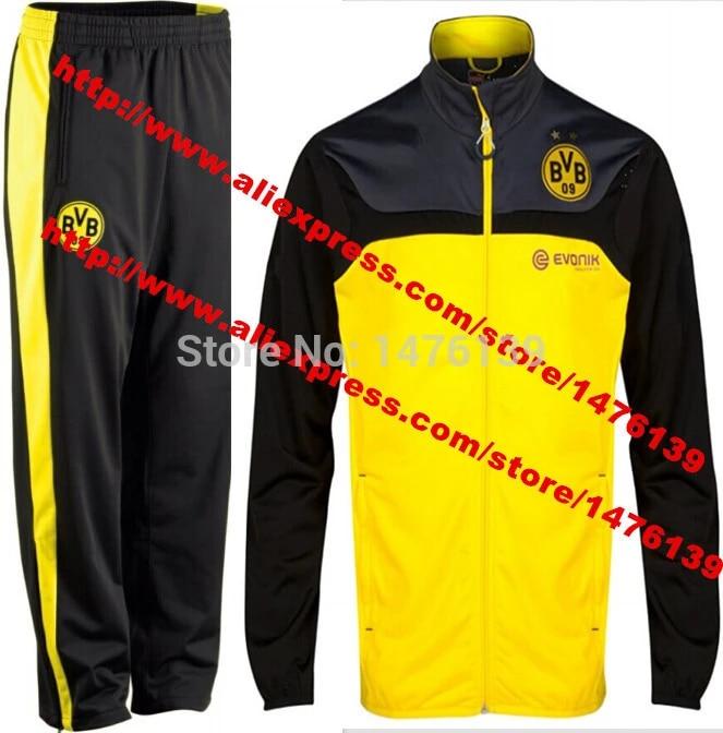 2015 Borussia Dortmund Football Clothes Coat Jacket Black Pants 14 To 15 Borussia Dortmund Zipper Training Suit Coat Jacket Clothes Clothes Giftjacket Garment Aliexpress