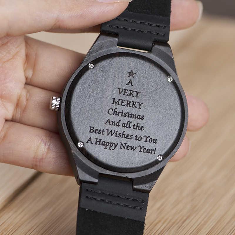 Relojes de madera personalizados regalos de Navidad, regalo de reloj personalizado grabado, regalo de Idea para el mejor reloj de pulsera de hombre personalizado
