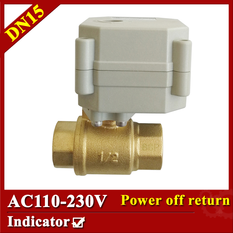 Brass 1/2 inch automatic open/closed valve DN15 electric actuated valve AC110V-230V normally open normally closed valve цены онлайн