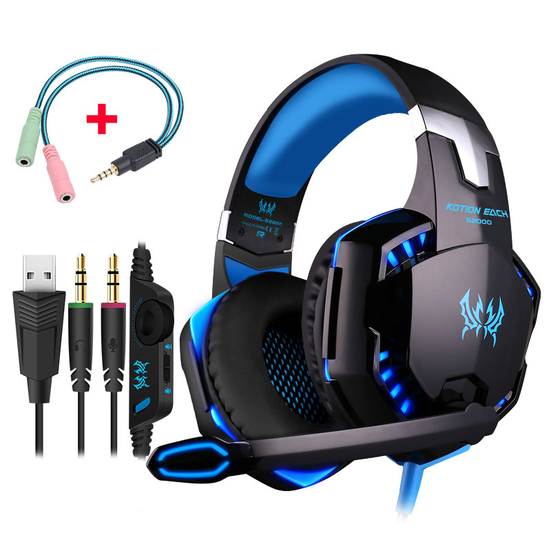 KOTION EACH G2000 Game Headset PC Gamer Stereo Surrounded Sound Deep Bass Over-Ear Gaming Headphone With Mic For Computer Game best headphones wired stereo gaming headset with mic over ear headsets bass hifi sound music earphone for smartphone pc computer