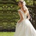 Элегантный Кот Атласная Короткие Свадебные Платья 2017 Robe De Mariage Бисероплетение Спагетти V-образным Вырезом Линии Свадебные Платья Длиной до колена