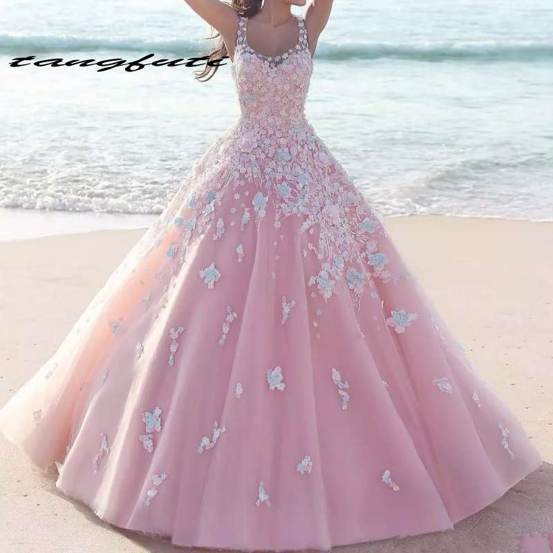 Princess Floral Flower Pink Quinceanera Dresses Sleeveless Lace Applique Tulle Long Prom Dresses Formal Party Prom