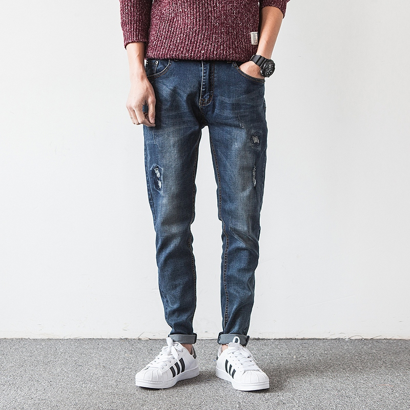 Korean Slim Fit Jeans Men Pants Scratched Designs Brand Clothing Casual Denim Trousers Classic