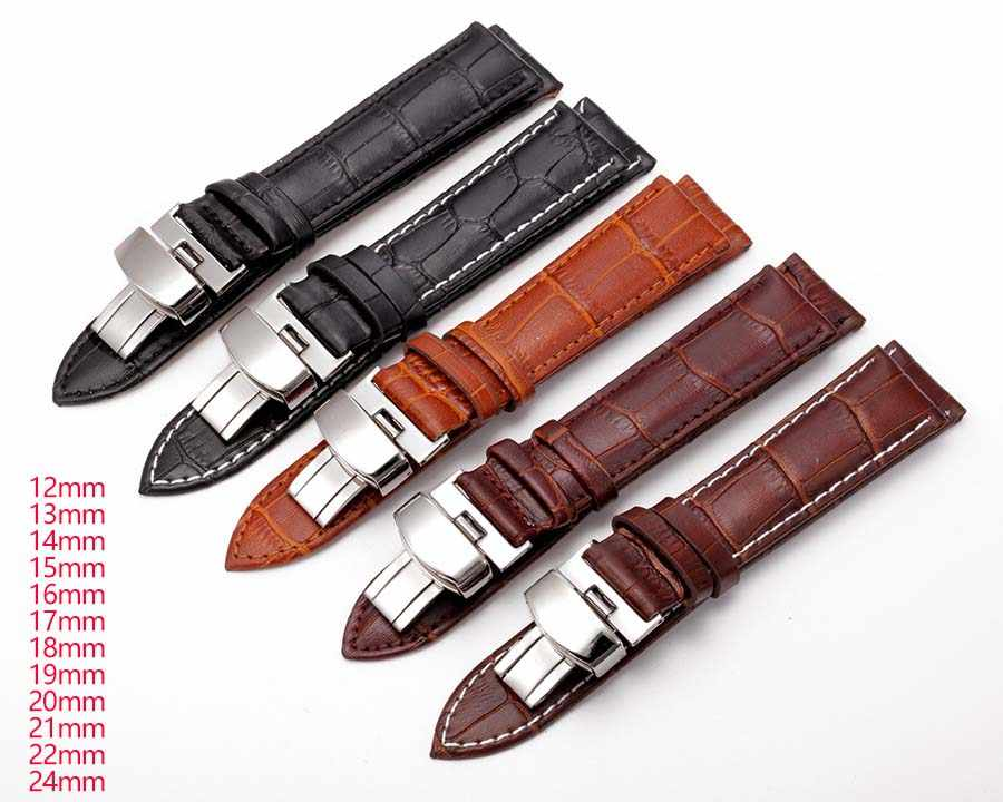 جلد طبيعي Watchbands 12 مللي متر-24 مللي متر العالمي ووتش فراشة مشبك الفرقة الصلب فراشة مشبك حزام ساعة اليد استبدال