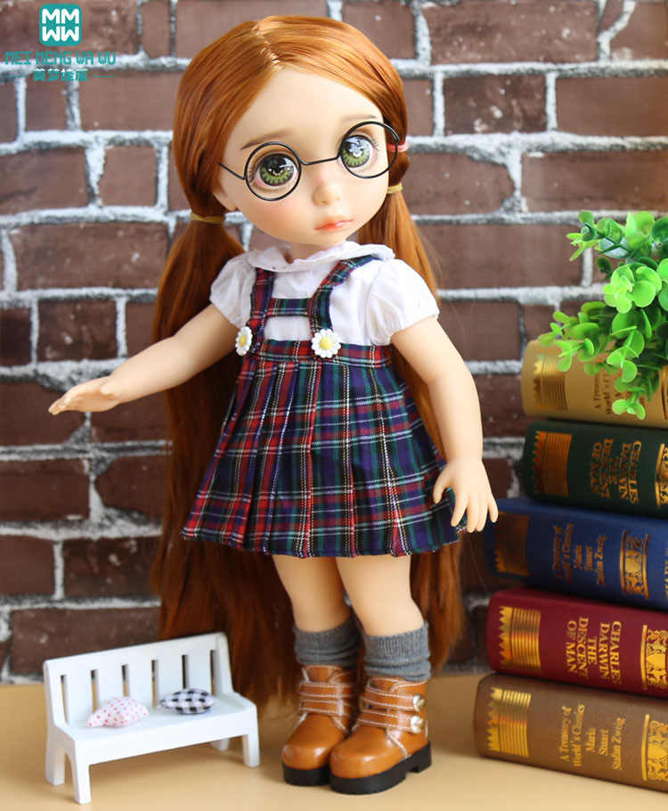 Clothes for dolls fits 40cm Sharon doll White shirt + plaid strap dress girl dress