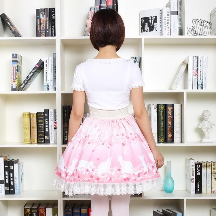 De Imperio Nuevo Falda Rosa Princesa Lindo Mori Dulce Cerezo Japonés Flor Gato Lolita Niña Impresión Mini Encaje Estilo nBXqarB