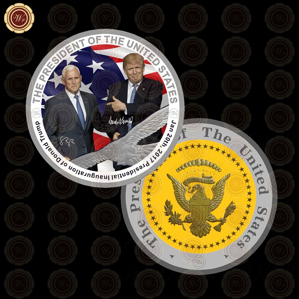 2017 New Donald Trump Coin and US Vice President Mike Pence America Silver Coin Plated Collectible Souvenir Coins Business Gifts