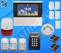 7 дюймов сенсорный экран PSTN GSM сигнализация, двойной домашней сети аварийной системы безопасности с пожарной сигнализации, датчик дыма, сире