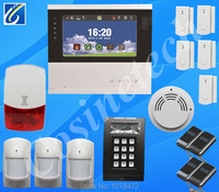 7 inch touch screen PSTN GSM alarm system,dual network home security alarm system with fire alarm smoke sensor,siren, keypad