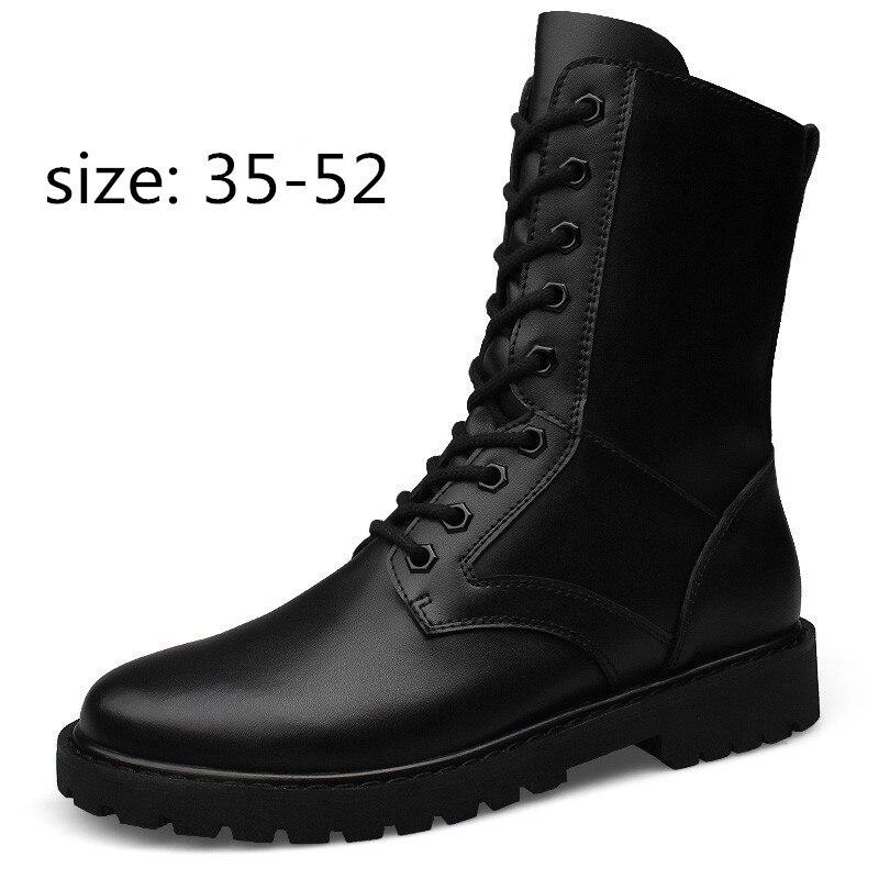 Male Boots Genuine-Leather Plush-Shoes Warm Flat Fur Winter Men