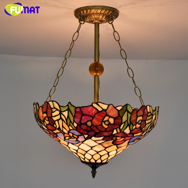 FUMAT European Style Creative Tiffany Stained Glass Pendant Lights LED Art Lamp For Living Room Classic Tiffany Light Fixtures  tiffany suspension lamp art stained glass rose lamp living room restaurant european style tiffany pendant lights