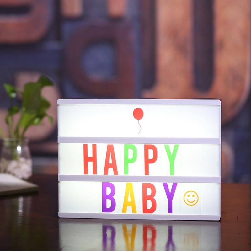 DIY Colored Letters Numbers Design Lights Box USB Charged Cinema Lightbox Home DIY Message Parties Birthday Wedding Decor