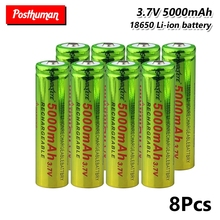 POSTHUMAN 8pcs cell For electronic cigarette Rechargeable battery power high discharge 18650 capacity 5000mah 3.7v