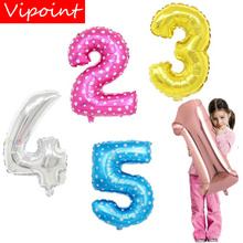 VIPOINT PARTY 16inch gold silver blue dot number foil balloons wedding event christmas halloween festival birthday party FD-9 vipoint party 16inch rose gold blue letter number foil balloons wedding event christmas halloween festival birthday party fd 14