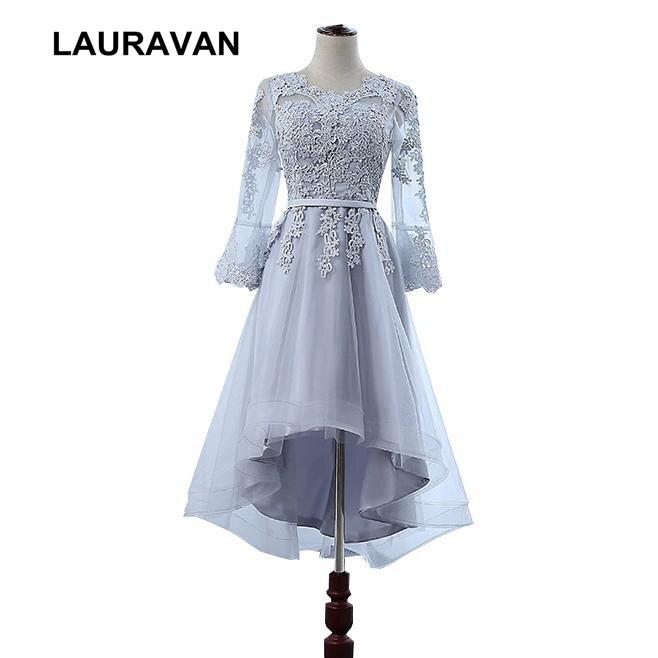 robe de soiree mariage high low brides maid princess short front long back modest sleeved bridesmaids dresses teens girl dress