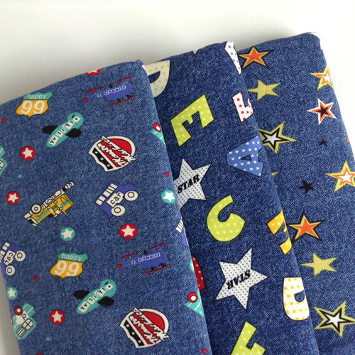PRINTED Cotton Denim Fabric Material BLUE ANCHORS