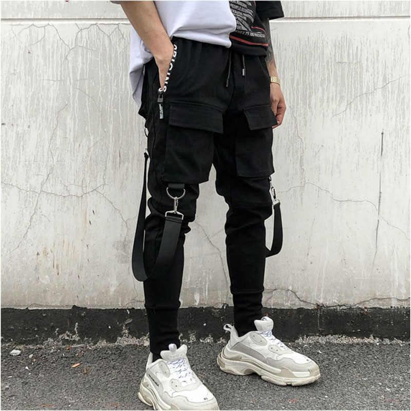 NEW Hot Ripped Lápis Calças Dos Homens Hip Hop Patchwork Carga Bolsos Laterais Sweatpants Corredores Calças Moda Masculina Calças de Comprimento Total