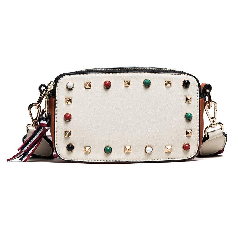Women Leather Crossbody Bag Girls Colorful Rivet Adjustbale Wide Strap Cool Shoulder Bag High Quality Female Small PU Handbags