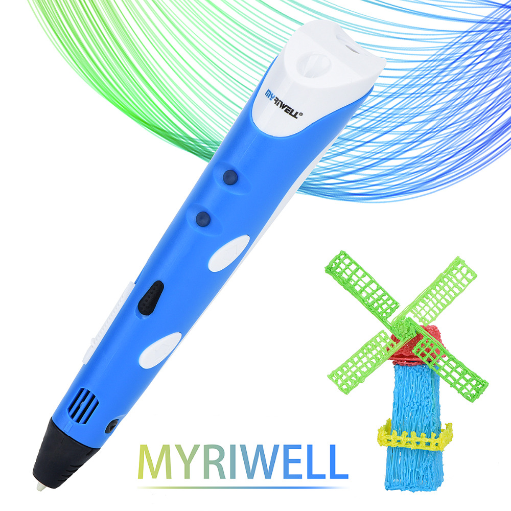 Myriwell Magic 3d printer pen Drawing 3D Pen With 3Color ABS filaments 3D Printing 3d pens for kids Christmas birthday present new arrival 3d printing pen with 100m 10 color or 200 meter 20 color plastic pla filaments 3 d printer drawing pens for kid gift