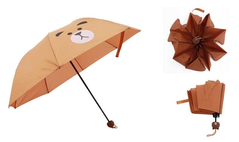 Creative Cute Cartoon Bear Rabbit Totoro Villain Children Umbrella 3 Folding Pongee Windproof Rain Umbrella For Kids15