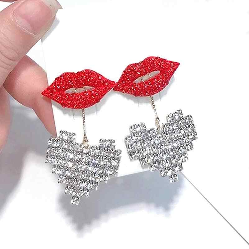 Statement Earrings Phụ Nữ Shinning Rhinestone Tim Red Lip Thả Dangle Earrings Trendy Jewelry Đảng 2018 Đường Phố Món Quà Fine