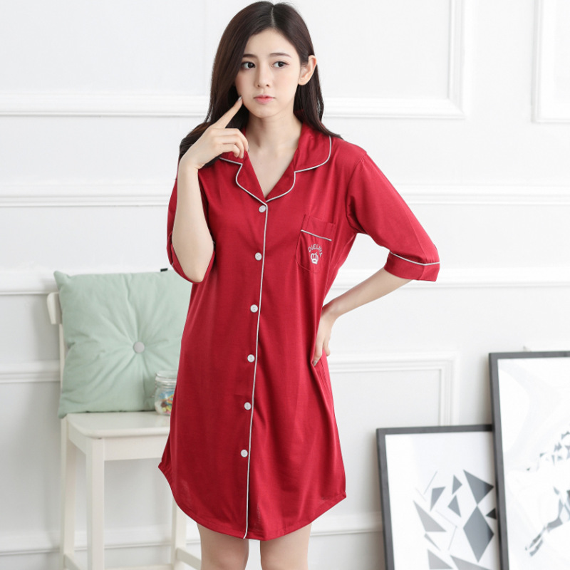Women Nightwear Nightgowns Sexy Half Sleeve V Neck Sleepwear Pijama Home Wear Nightdress Nightgowns & Sleepshirts AD377