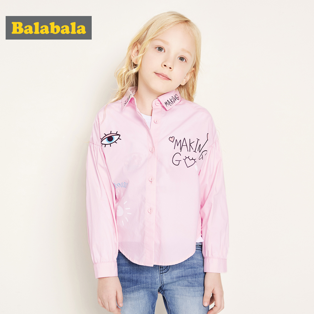 balabala Children Girls Long-sleeved Shirt Cotton Spring Autumn New girls blouses Breathable Comfortable Shirts For Kids Girls