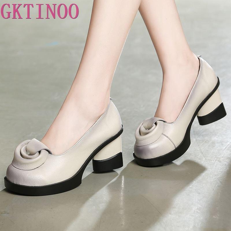 GKTINOO Flower Pumps Shoes High-Heels Retro Genuine-Leather Women Lady 7CM on Spring