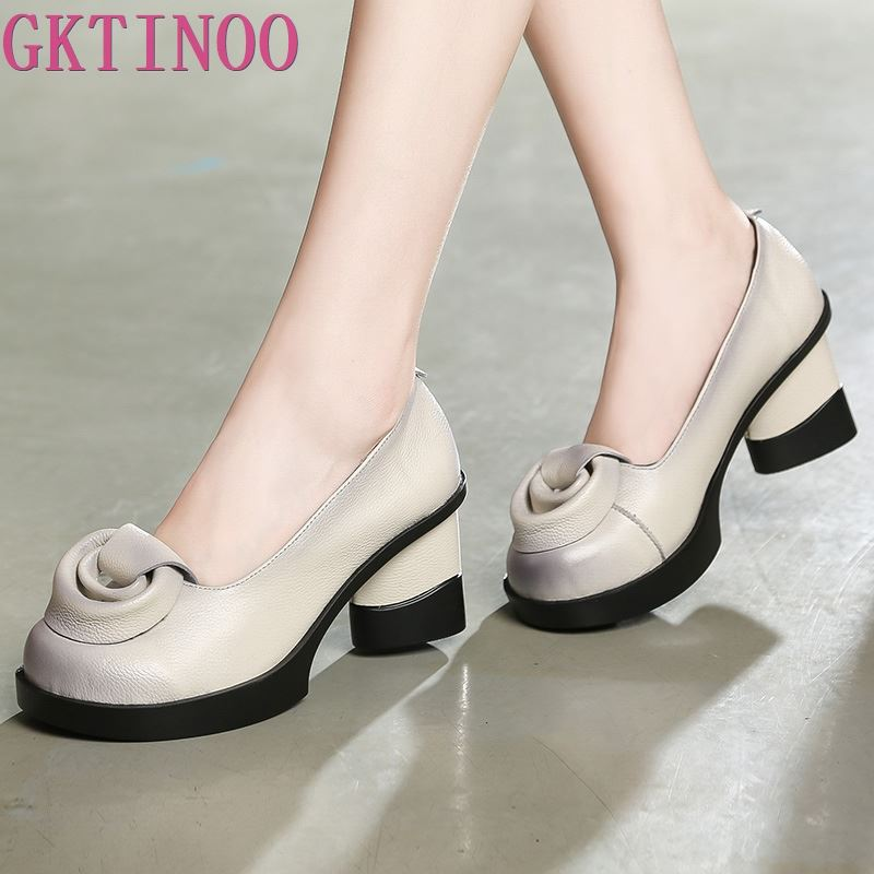 GKTINOO Spring Women Pumps Retro Lady 7CM High Heels Slip On Flower Pumps Handmade Women Genuine Leather Shoes