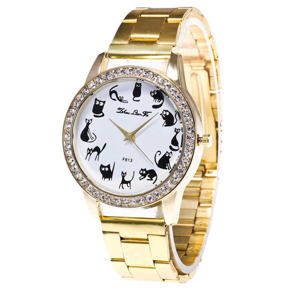 Top Brand Fashion Luxury Women Wrist Watch Cat Print Rhinestone Dial Gift Clock Quartz Stainless Steel Belt Watch Gift Relogio#S
