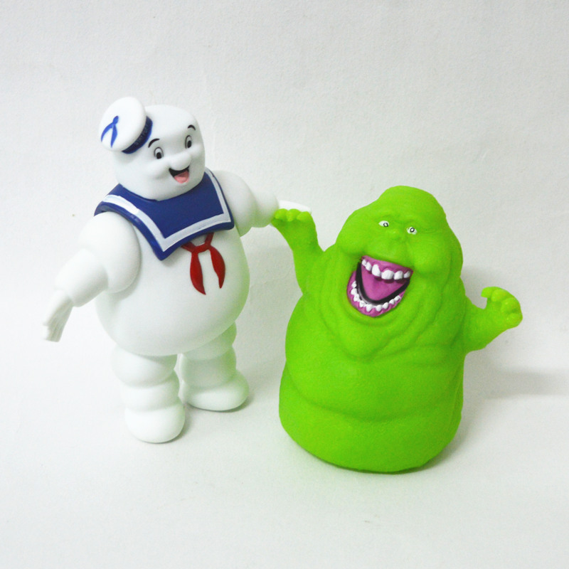 2pcs/set Ghostbusters Stay Puft Marshmallow Man and Slimer PVC Action Figure Kids Toy