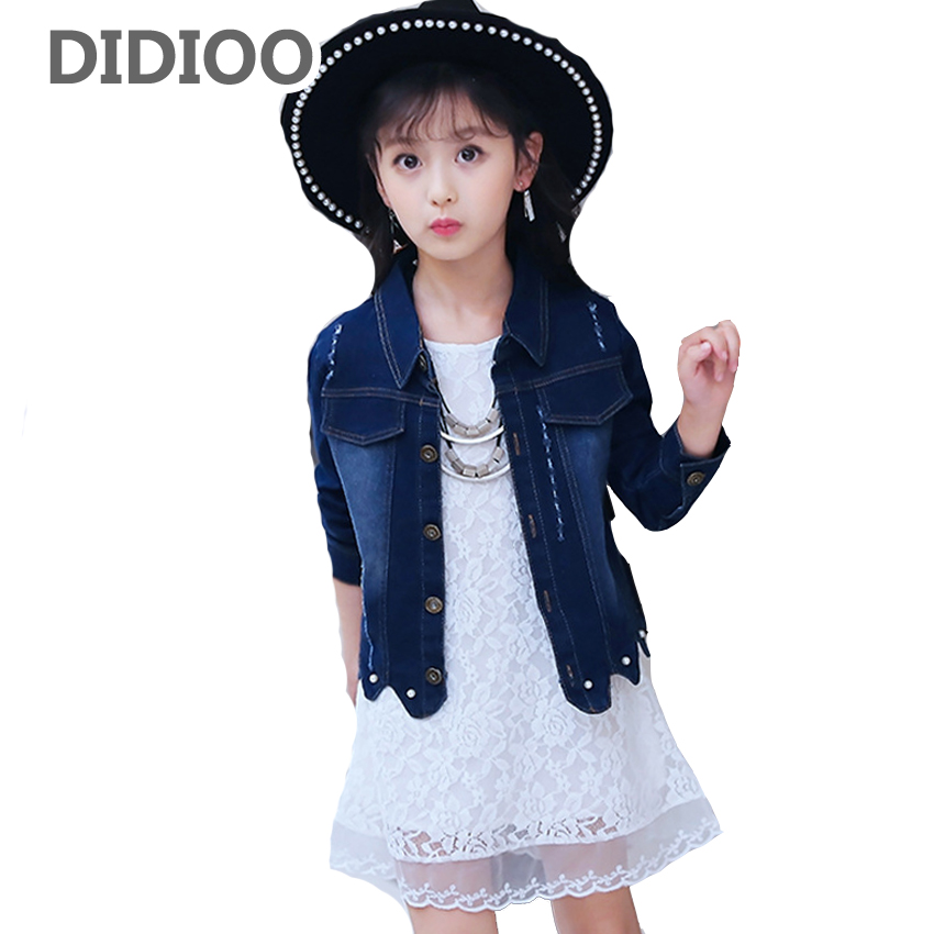 Baby Outfits for Girls White Dress & Denim Jackets Suits Infant Vestido Jeans Coat Clothes Sets 8 10 12 Years Kids Clothing Sets fashion autumn girl clothing sets denim outfits girls clothes sets jeans jackets shirt patchwork dress 2pcs suits with necklace