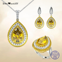 Shipei 100% Sterling Silver Fine Jewelry Set Luxury White Gold Water Drop Yellow Sapphire Earrings Necklace Ring Set for Women a suit of chic faux gemstone water drop necklace ring bracelet and earrings for women