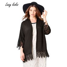 Lazy KoKo 2017 Plus Size New Fashion Women Colthing Solid Black Casual Coat Big Large Size 3XL 4XL 5XL 6XL