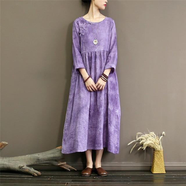 6781e5f25c402 Johnature Women Tie Dyeing Ramie Dress Vintage Purple Women Clothing High  Waist 2018 Autumn New O-Neck Long Sleeve Dresses