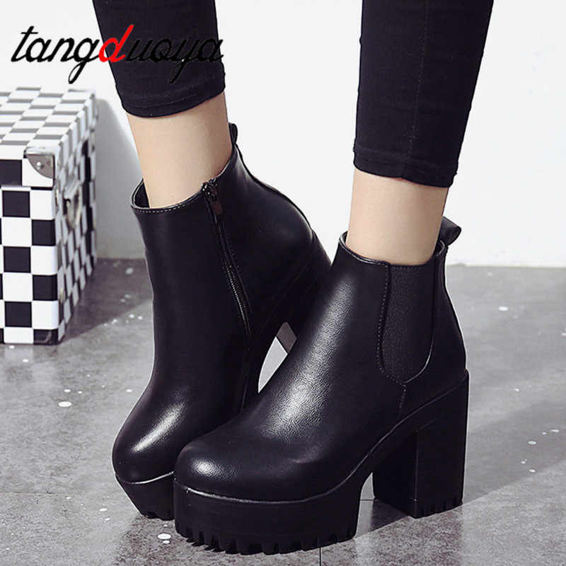 Women Chelsea Boots Elastic Band Spring