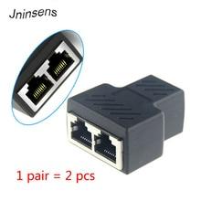 2 pçs/set novo 1 a 2 dupla fêmea porto rj45 divisor conector cat6 lan ethernet sockt conexões de rede divisor adaptador