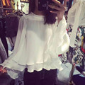 White Chiffon Blouse Womens New Fashion Long Sleeve Sweet Mori Girl Casual Top